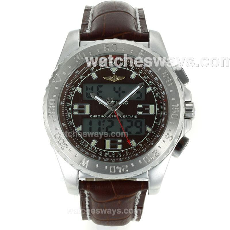 Replik Breitling Emergency Uhr Digital Displayer Mit Braunem Zifferblatt Braunes Lederarmband 116828