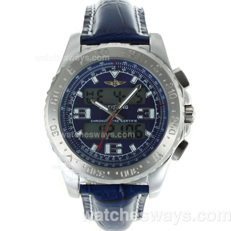 Replik Breitling Emergency Uhr Digital Displayer Mit Blauem Zifferblatt Blau Lederarmband 116818