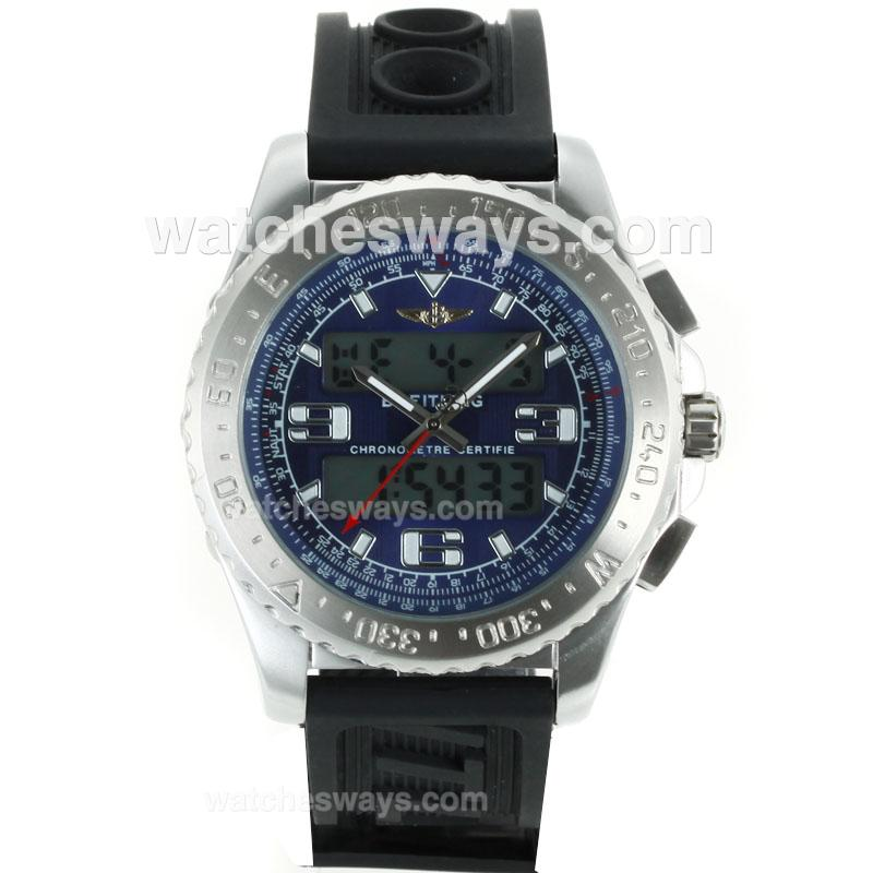Replik Breitling Emergency Uhr Digital Displayer Mit Blauem Zifferblatt Kautschukband 116812
