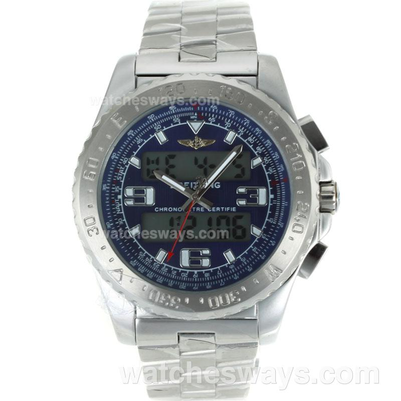 Replik Breitling Emergency Uhr Digital Displayer Mit Blauem Zifferblatt S / S 116842
