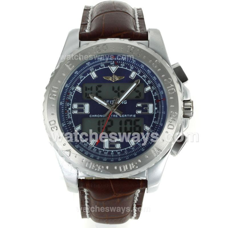 Replik Breitling Emergency Uhr Digital Displayer Mit Blauem Zifferblatt Braunes Lederarmband 116830