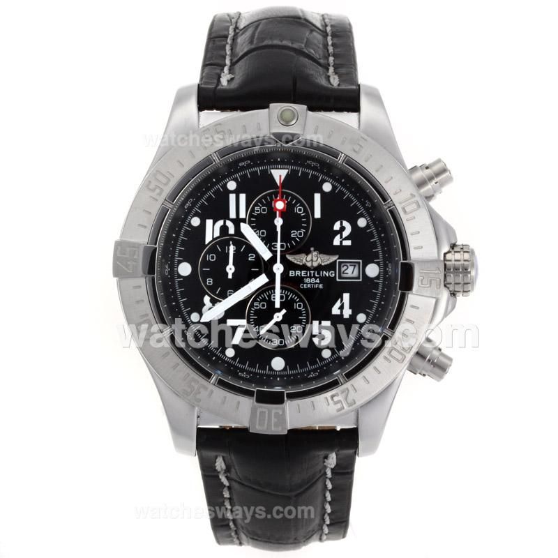 Repliki Breitling Skyland Avenger Working Chronograph with Black Dial Leather Strap-49mm Version 54131