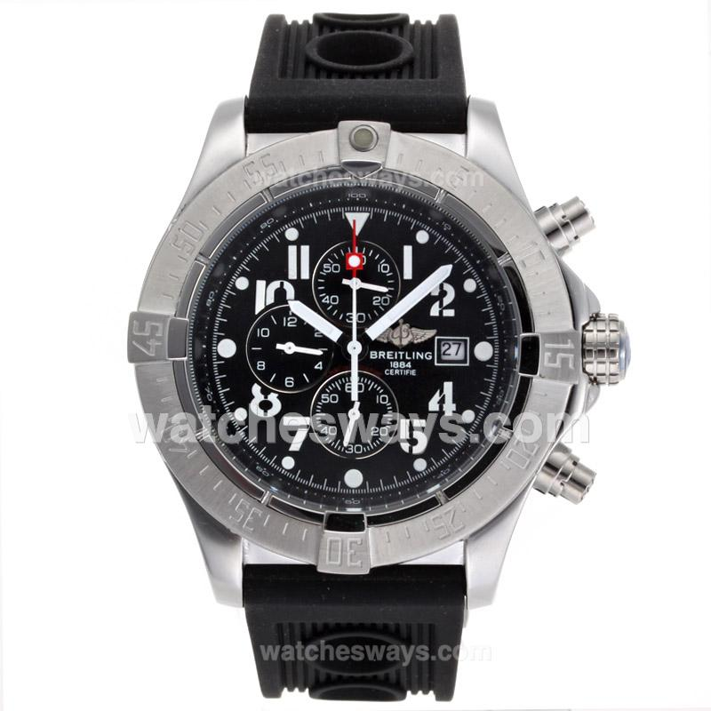 Repliki Breitling Skyland Avenger Working Chronograph with Black Dial Rubber Strap-49mm Version 54129