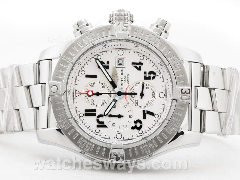 Repliki Breitling Skyland Avenger Working Chronograph with White Dial -Arabic Marking S/S 31932
