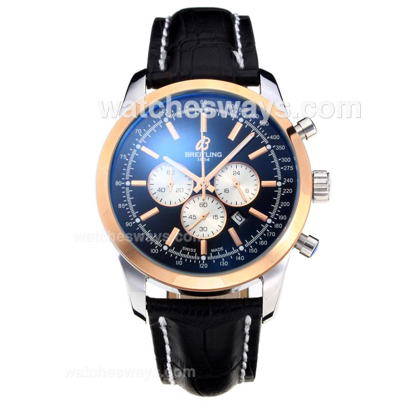 Repliki Breitling Transocean Working Chronograph Rose Gold Case with Black Dial Leather Strap 196870