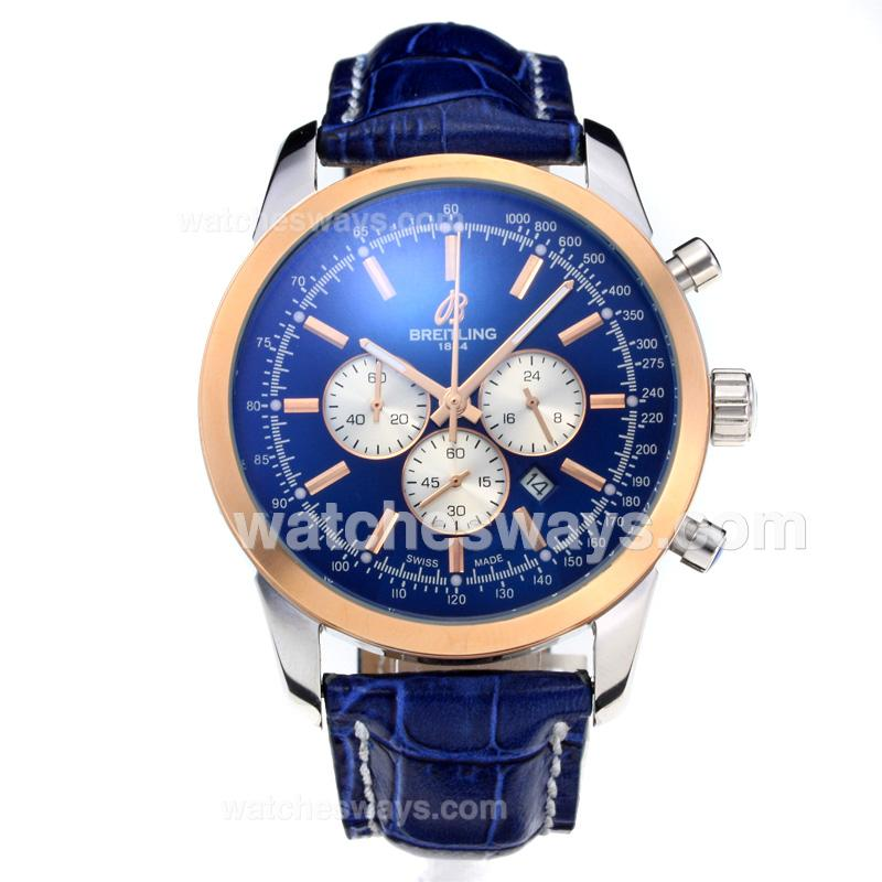 Repliki Breitling Transocean Working Chronograph Rose Gold Case with Blue Dial Leather Strap 196876