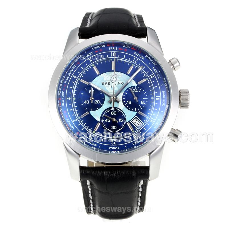 Repliki Breitling Transocean Working Chronograph Unitime with Blue Dial Black Leather Strap 174514