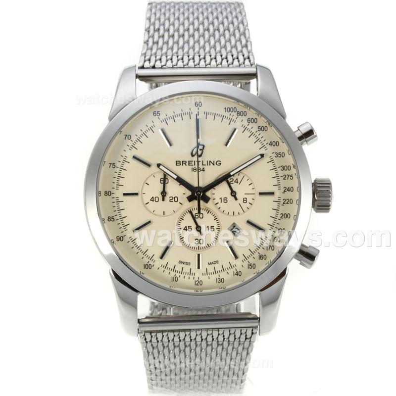 Repliki Breitling Transocean Working Chronograph with Beige Dial S/S 126090