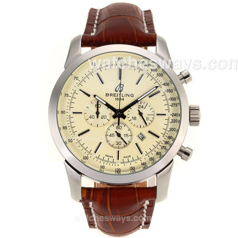 Repliki Breitling Transocean Working Chronograph Stick Markers with White Dial Leather Strap 103118