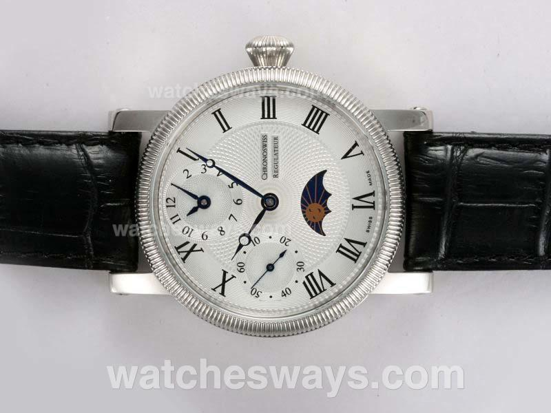 Replik Chronoswiss Uhr Regulateur Unitas 6497 Bewegung Mit Mondphase 12012