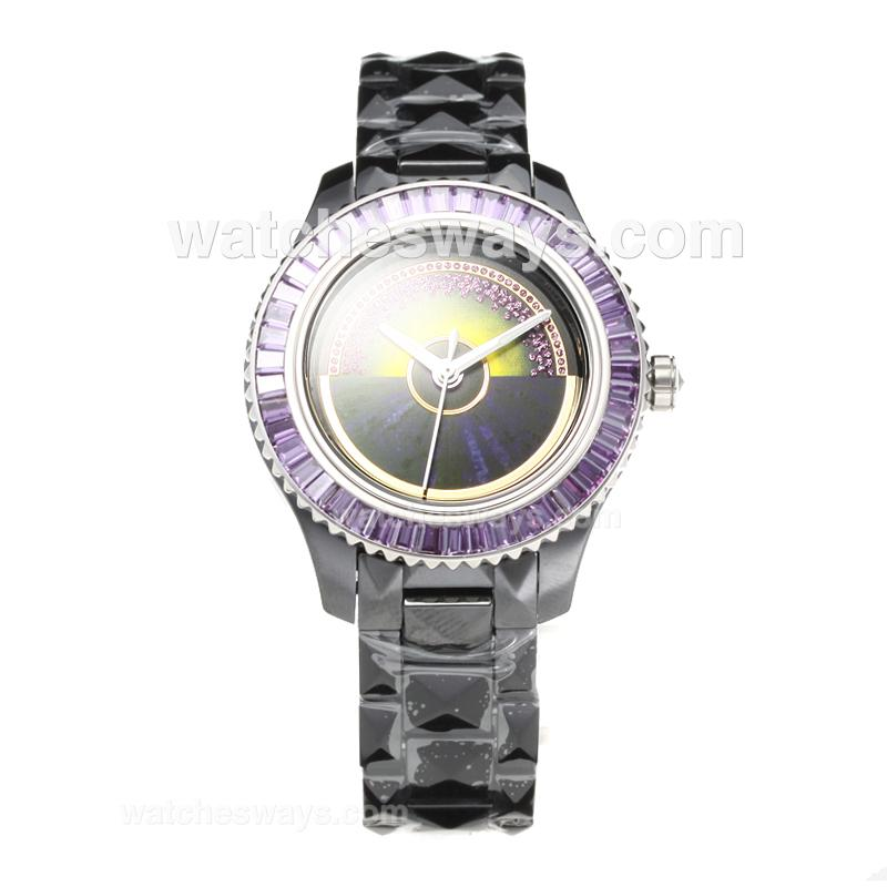 Repliki Christian Dior VIII Full Ceramic Diamond Bezel with Purple Dial 2 187658