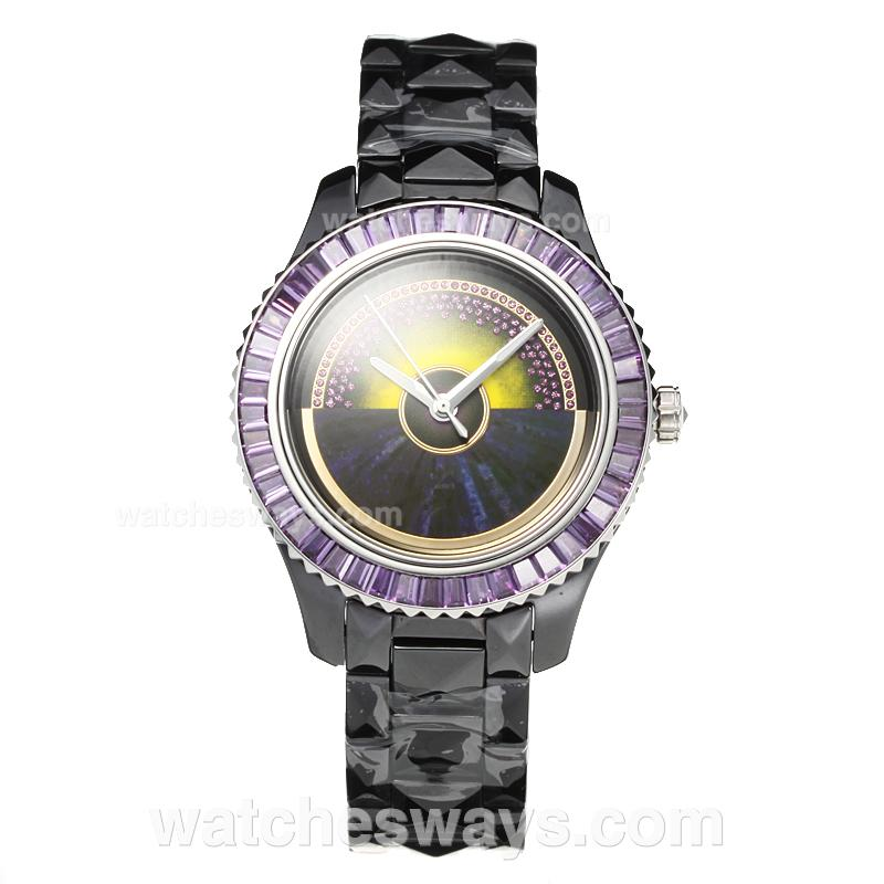 Repliki Christian Dior VIII Full Ceramic Diamond Bezel with Purple Dial 3 187656