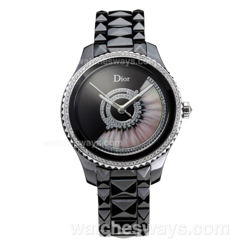 Repliki Dior VIII Full Ceramic Diamond Bezel with Black Dial 180898