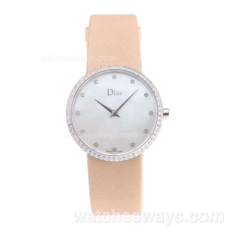 Repliki Christian Dior Diamond Case with White Shell Dial Leather Strap 203260