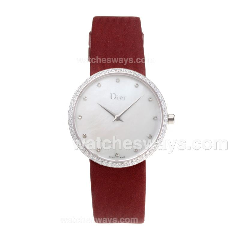 Repliki Christian Dior Diamond Case with White Shell Dial Red Leather Strap 203258