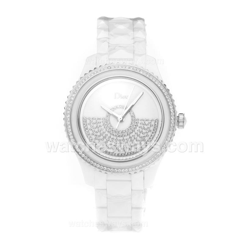 Repliki Christian Dior VIII Full White Ceramic Diamond Bezel with Silver Dial 190782