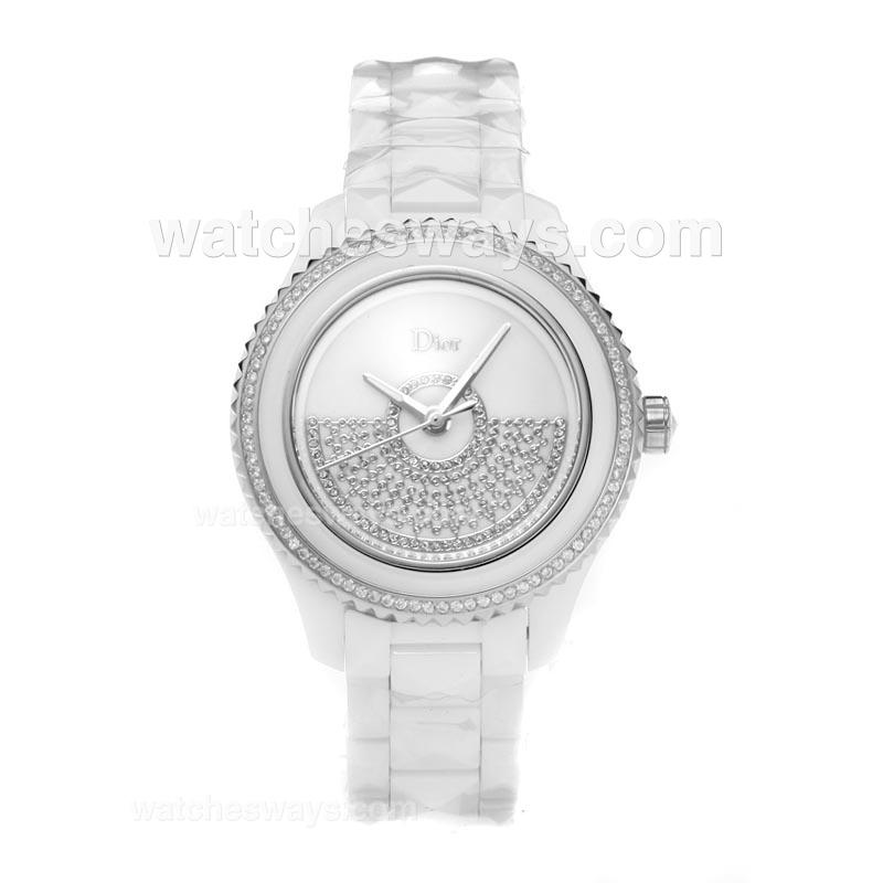 Repliki Christian Dior VIII Full White Ceramic Diamond Bezel with Silver Dial-1 190780