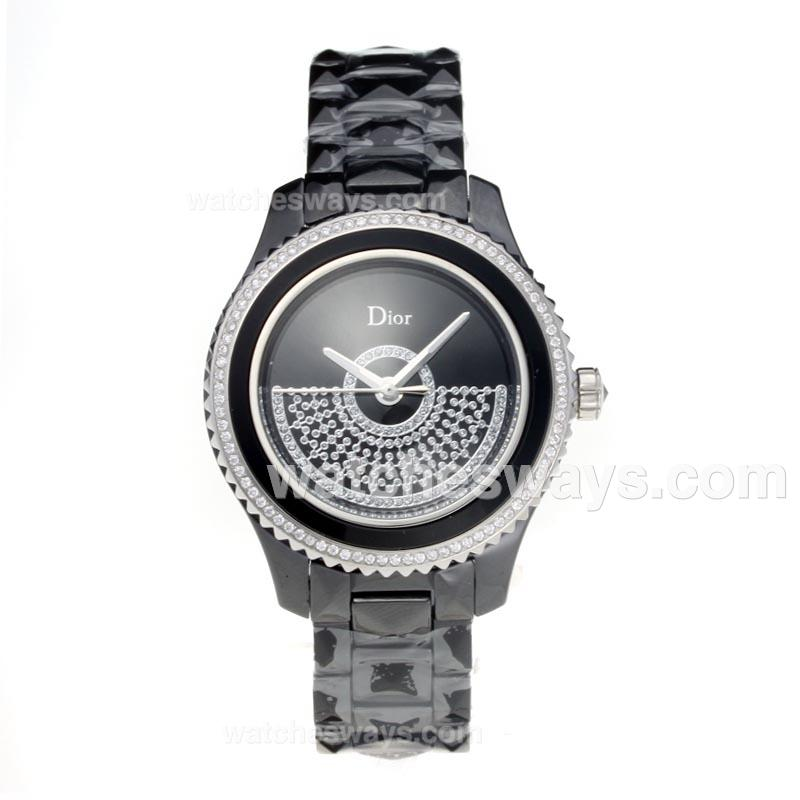 Repliki Christian Dior VIII Full Black Ceramic Diamond Bezel with Black Dial 1 190776