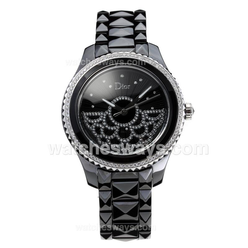 Repliki Dior VIII Full Ceramic Diamond Bezel with Black Dial 3 180800
