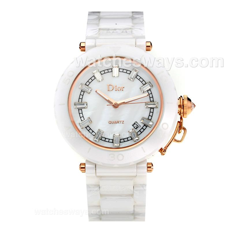 Repliki Dior Full Ceramic with White Dial 194216