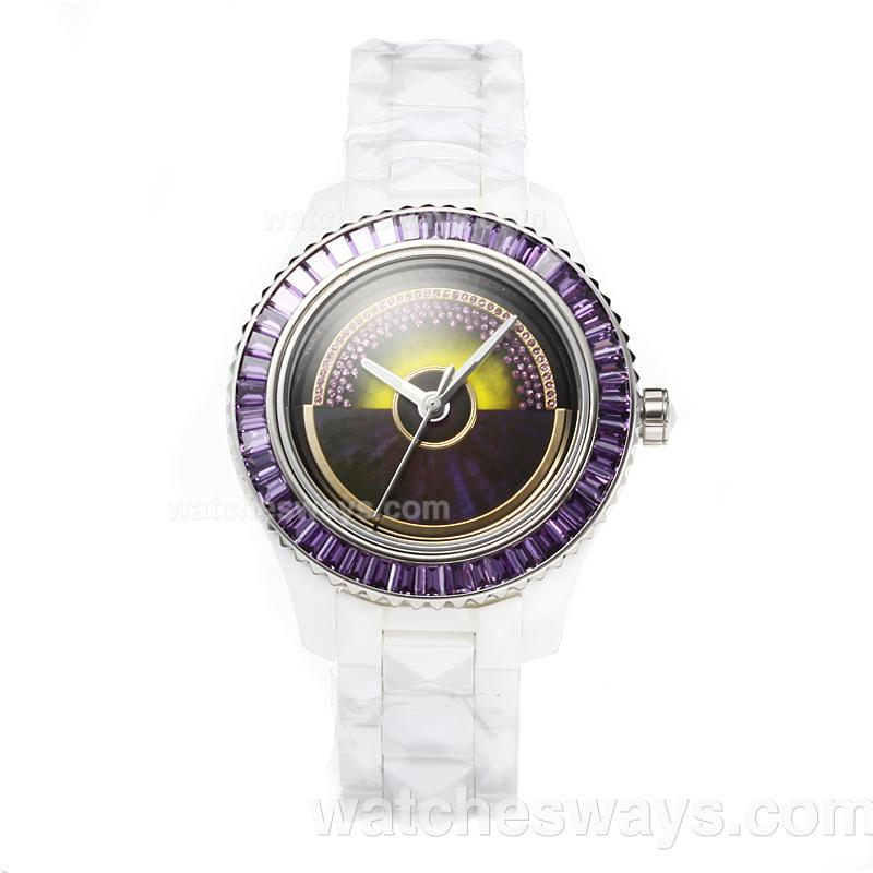 Repliki Christian Dior VIII Full Ceramic Diamond Bezel with Purple Dial 187662
