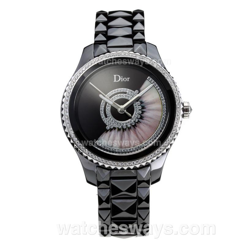 Repliki Dior VIII Full Ceramic Diamond Bezel with Black Dial 4 180798