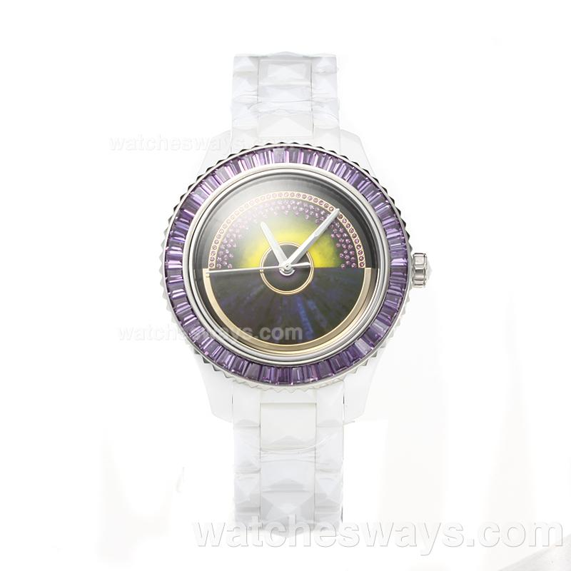 Repliki Christian Dior VIII Full Ceramic Diamond Bezel with Purple Dial 1 187660