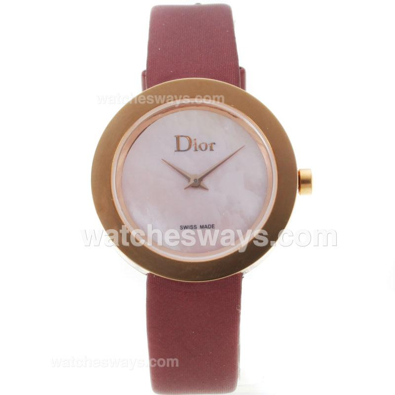 Repliki Dior Classic Rose Gold Case with Pink MOP Dial Leather Strap 121486