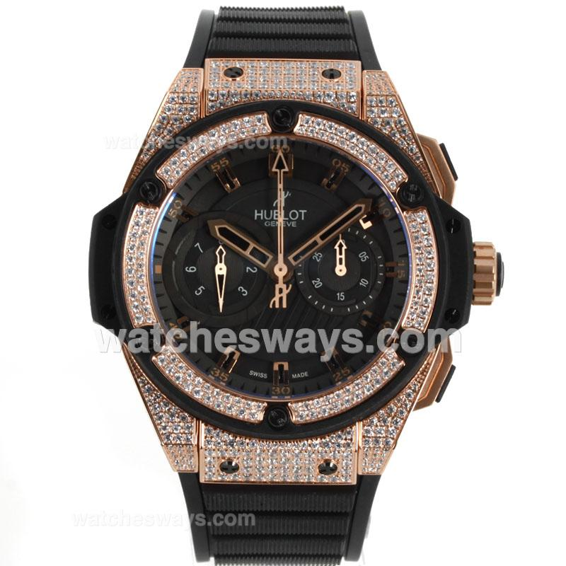 Repliki Hublot Big Bang King Chronograph Swiss Valjoux 7750 Movement Diamond Rose Gold Case and Bezel with Black Dial Rubber Strap 104370