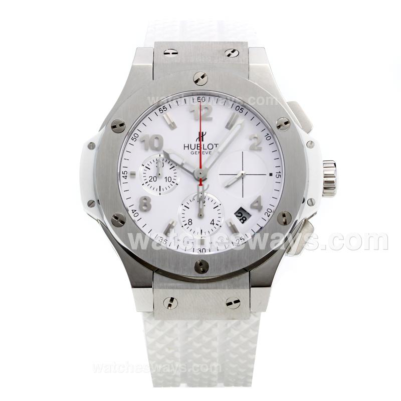 Repliki Hublot Big Bang Chronograph Swiss Valjoux 7750 Movement with White Dial-Rubber Strap 215572