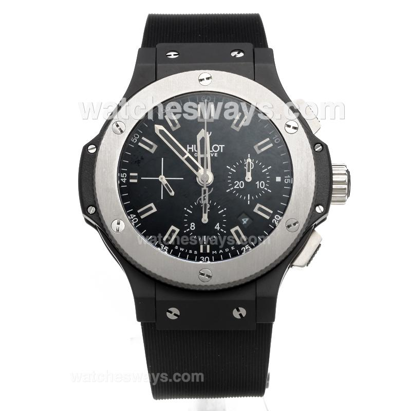 Repliki Hublot Big Bang Chronograph Swiss Valjoux 7750 Movement PVD Case with Black Dial-Rubber Strap 218014