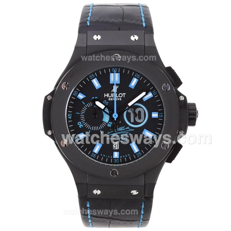 Repliki Hublot Big Bang Diego Maradona Working Chronograph PVD Case with Blue Markers-Leather Strap 60348
