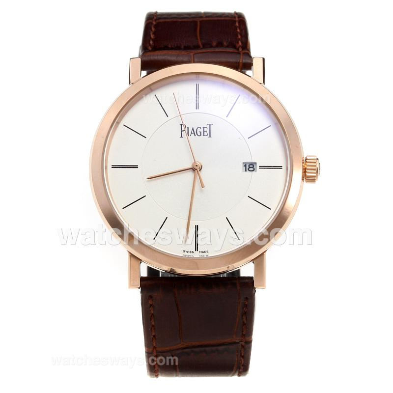 Repliki Piaget Altiplano Rose Gold Case with White Dial-Leather Strap 218010