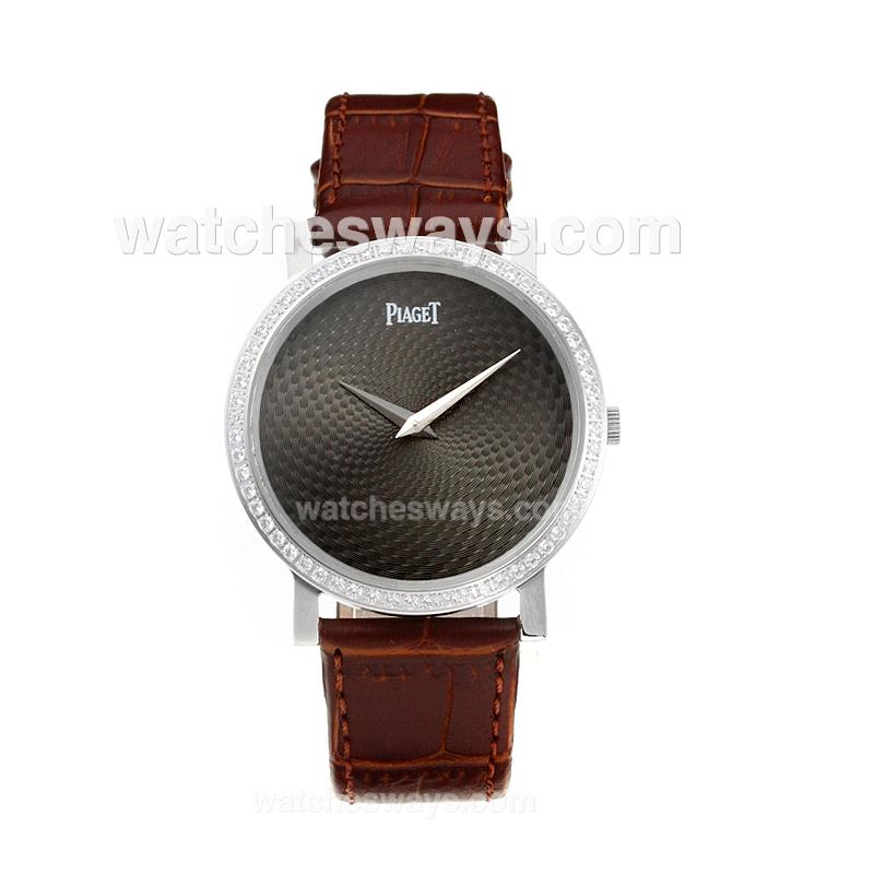 Repliki Piaget Altiplano Diamond Case with Black Dial-Leather Strap 211538