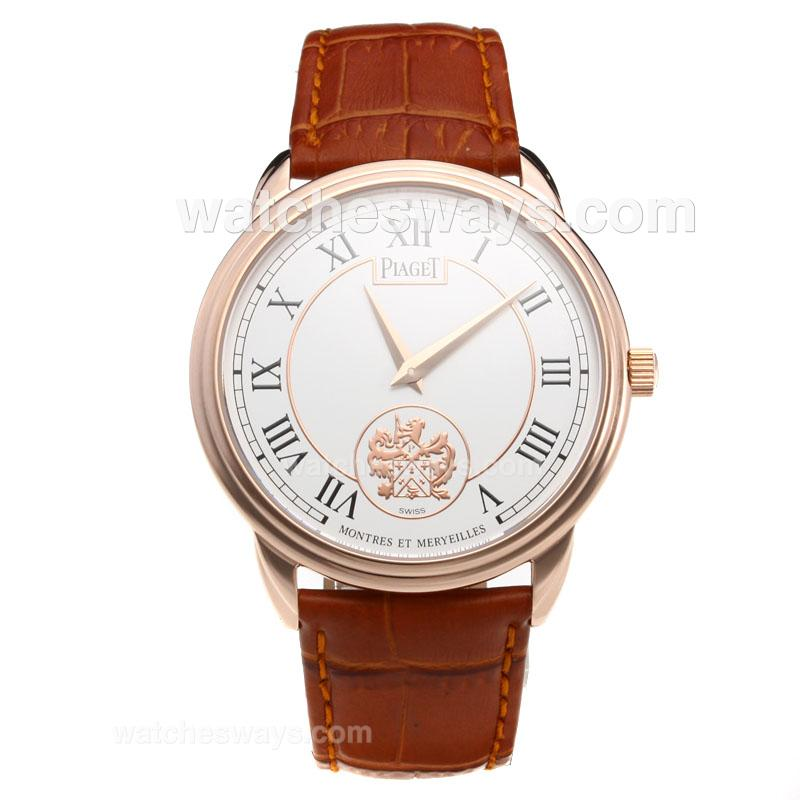 Repliki Piaget Altiplano Rose Gold Case with White Dial-Leather Strap-1 215880
