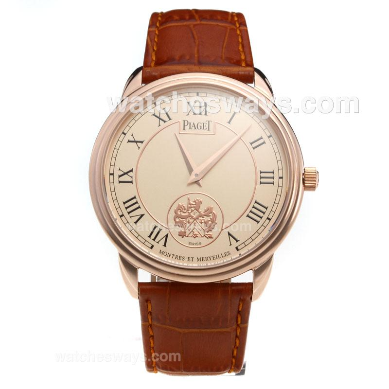Repliki Piaget Altiplano Rose Gold Case with Champagne Dial-Leather Strap 215878