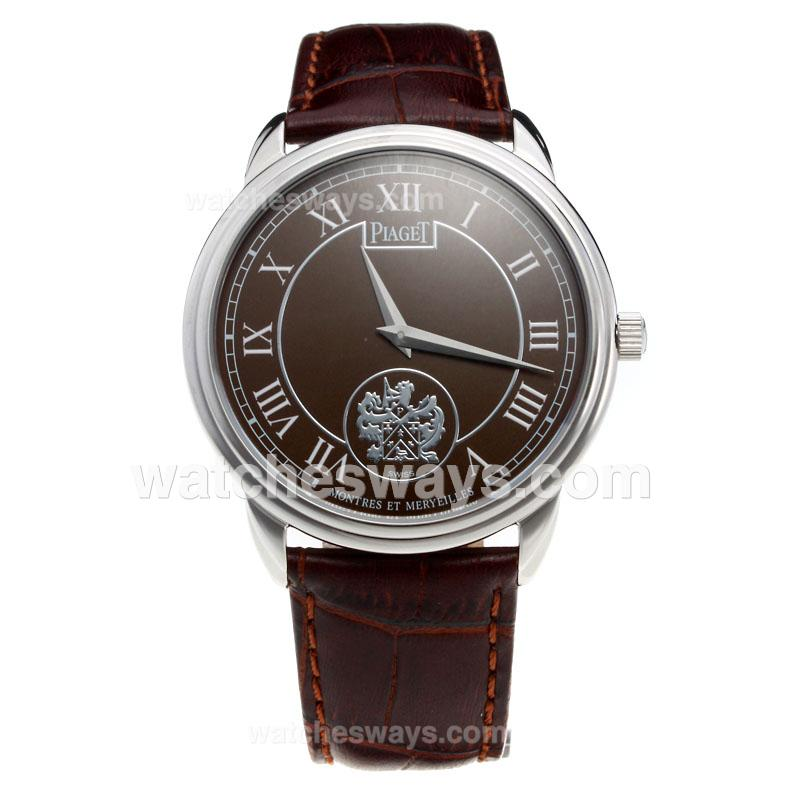 Repliki Piaget Altiplano with Brown Dial-Leather Strap 215862