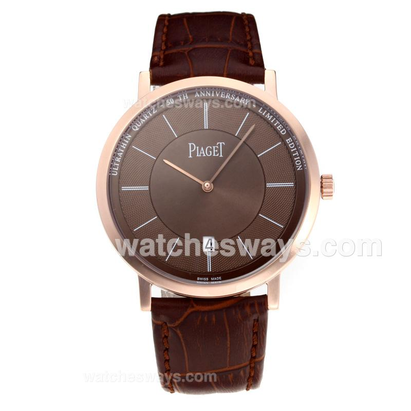 Repliki Piaget Altiplano Rose Gold Case with Coffee Dial Leather Strap 194910