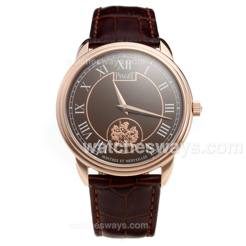 Repliki Piaget Altiplano Rose Gold Case with Brown Dial-Leather Strap 215854