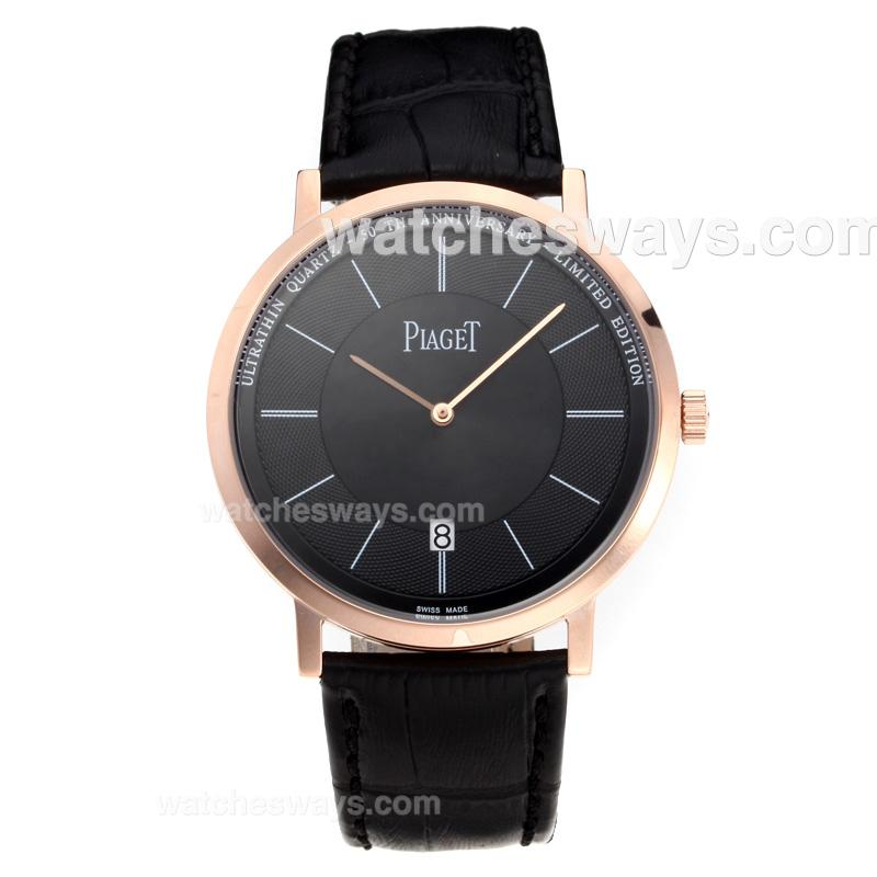 Repliki Piaget Altiplano Rose Gold Case with Black Dial Leather Strap 194906