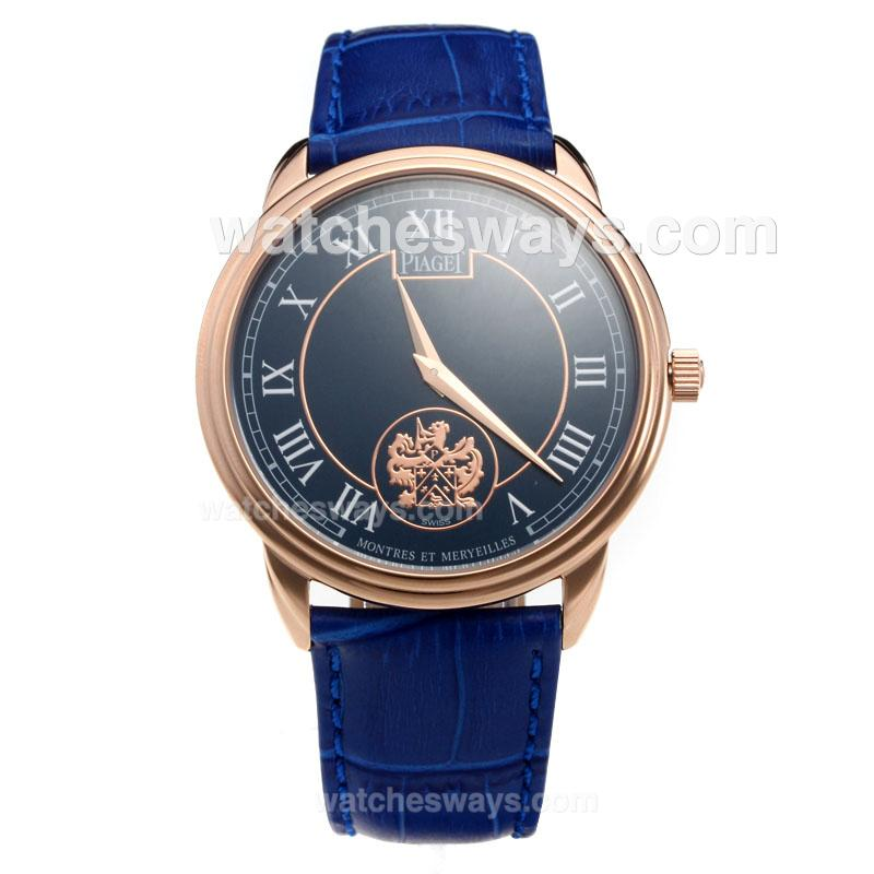 Repliki Piaget Altiplano Rose Gold Case with Blue Dial-Leather Strap 215840