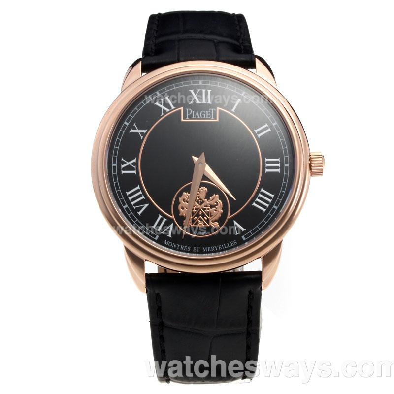 Repliki Piaget Altiplano Rose Gold Case with Black Dial-Leather Strap 215836