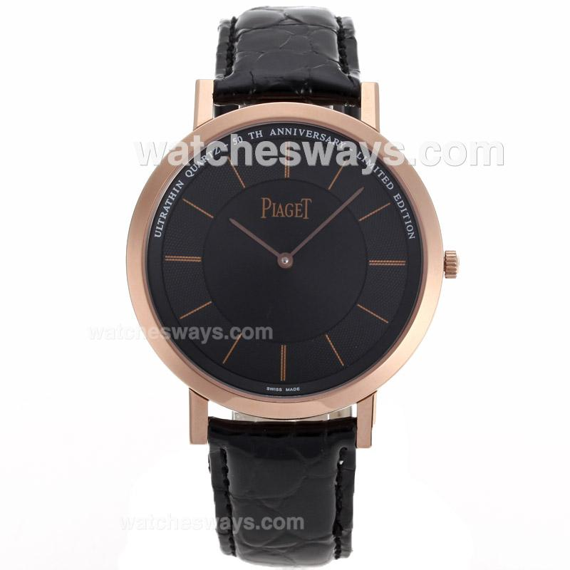 Repliki Piaget Altiplano Unitas 6497 Movement Rose Gold Case with Black Dial Leather Strap 89764
