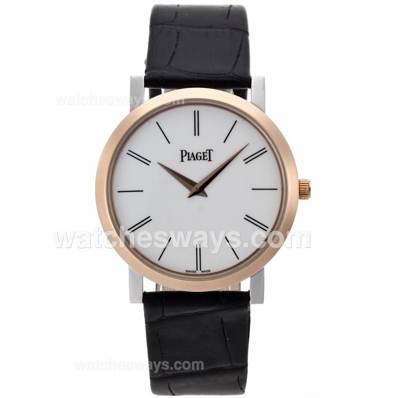 Repliki Piaget Altiplano XL Two Tone White Dial with Leather Strap 63177