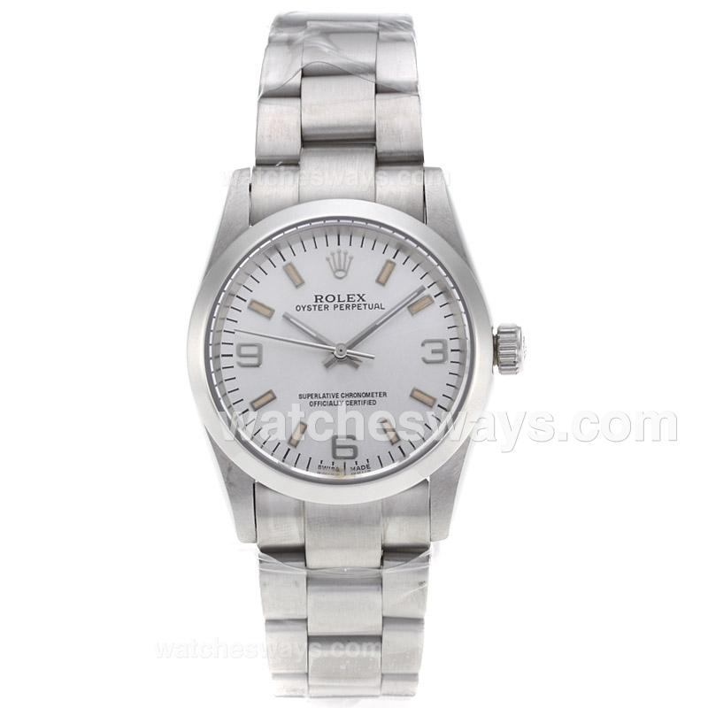 Repliki Rolex Air-King Automatic with Silver Dial S/S-Sapphire Glass 61240
