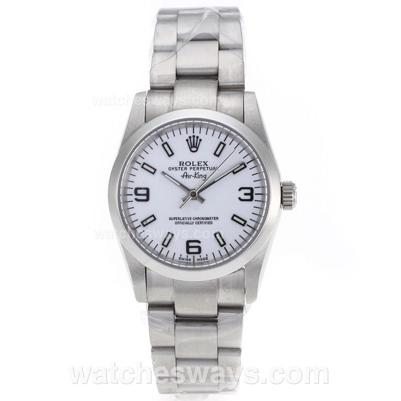 Repliki Rolex Air-King Automatic with White Dial S/S-Sapphire Glass 61239