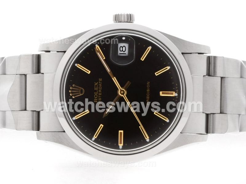 Repliki Rolex Air-King Precision Automatic with Black Dial Gold Marking-Vintage Edition 35709