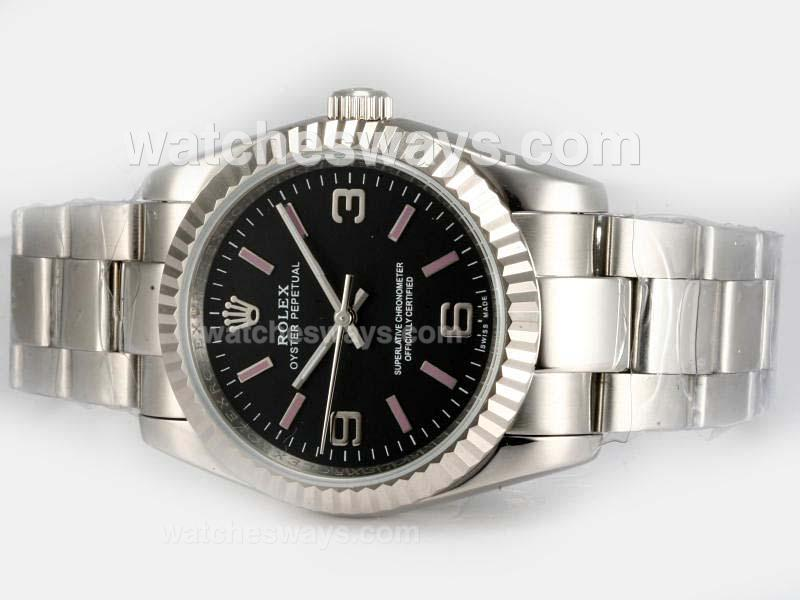 Repliki Rolex Air-King Oyster Perpetual Automatic with Black Dial 1 18617