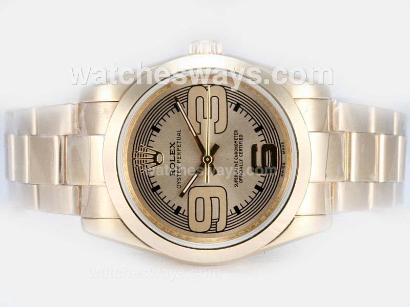 Repliki Rolex Air-King Oyster Perpetual Automatic Full Gold with Golden Dial New Version 17828