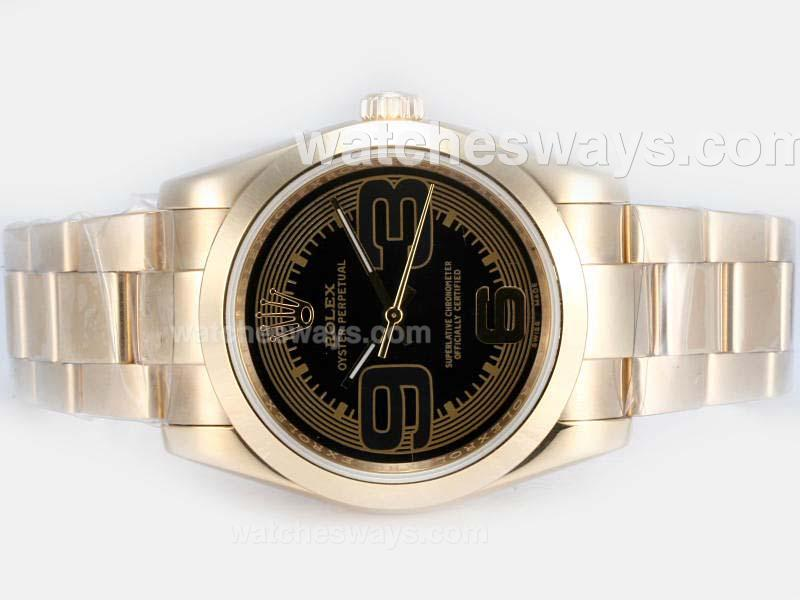 Repliki Rolex Air-King Oyster Perpetual Automatic Full Gold with Black Dial New Version 17827